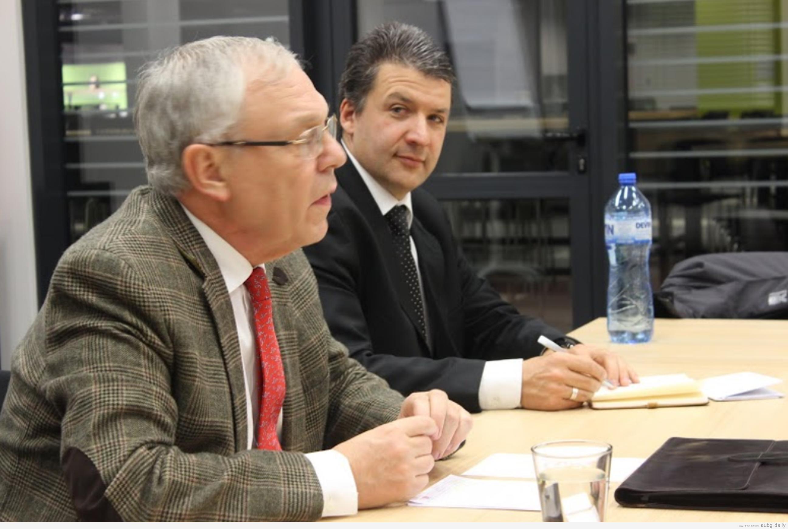 Ambassador Faltz and Professor Jean Crombois. Tsvetelina Miteva for AUBG Daily.