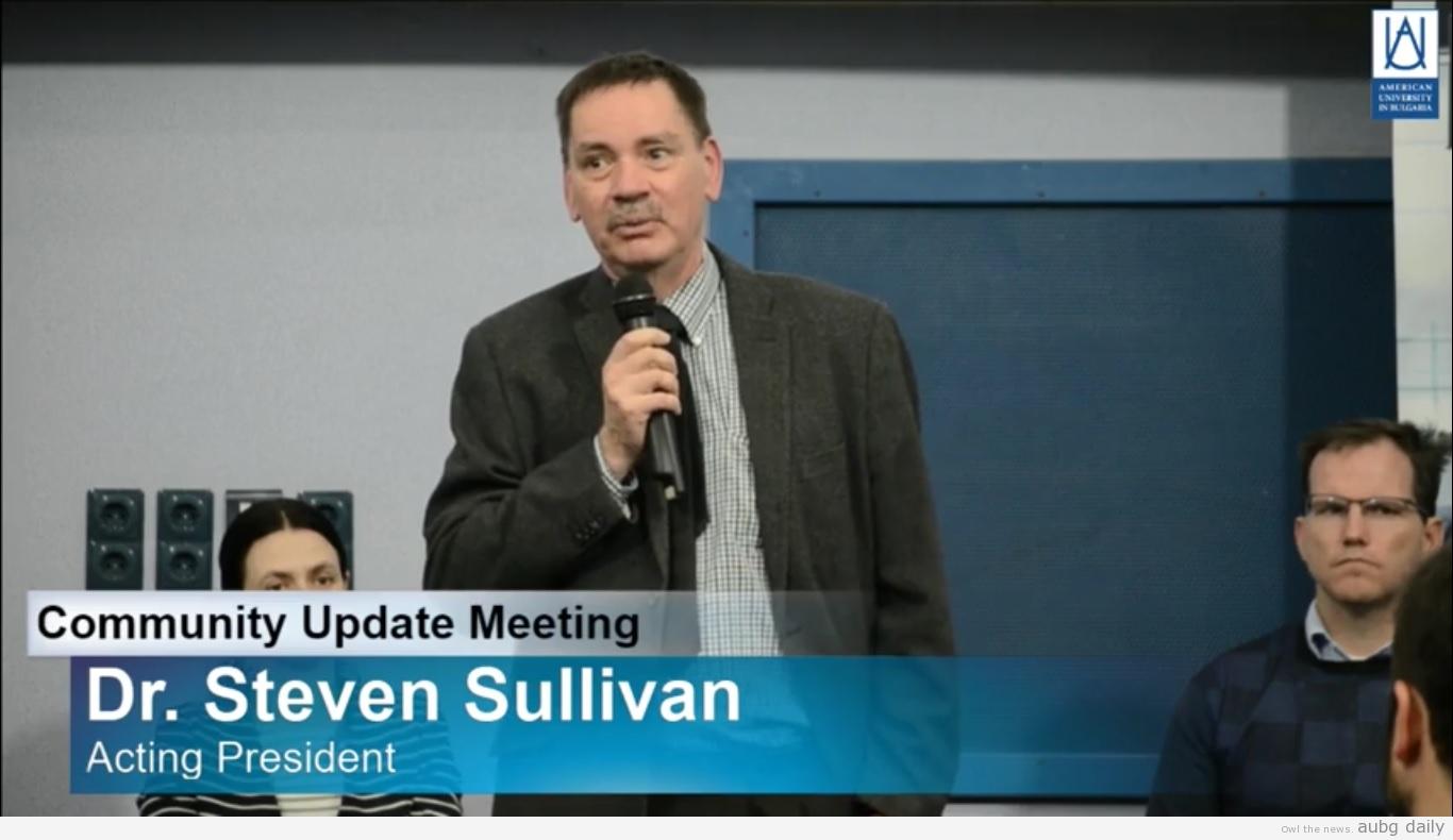 Acting President Dr. Sullivan on the Frontline at the Alumni Update; Credits to Rado Velitchkov