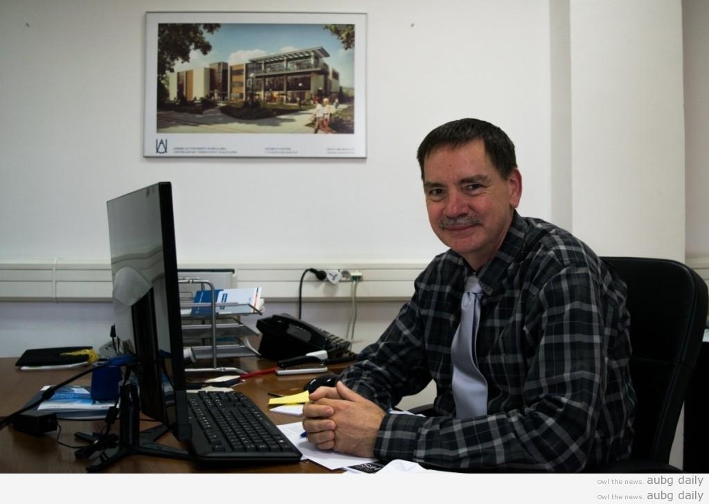 AUBG President Steven Sullivan in his office; Stiliyana Yordanova for AUBG Daily