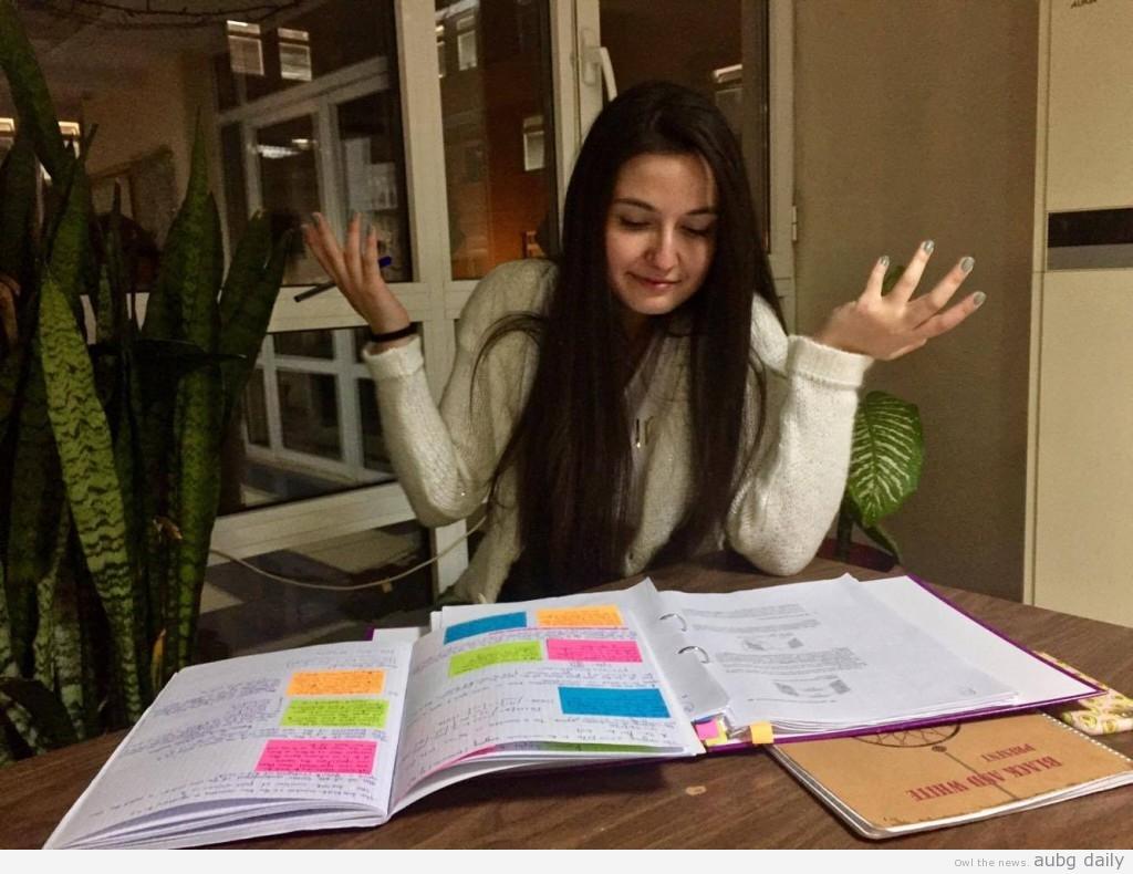 Leman Pehlivanova studying for the Linear Algebra Final, photo Georgi Staykov for AUBG Daily