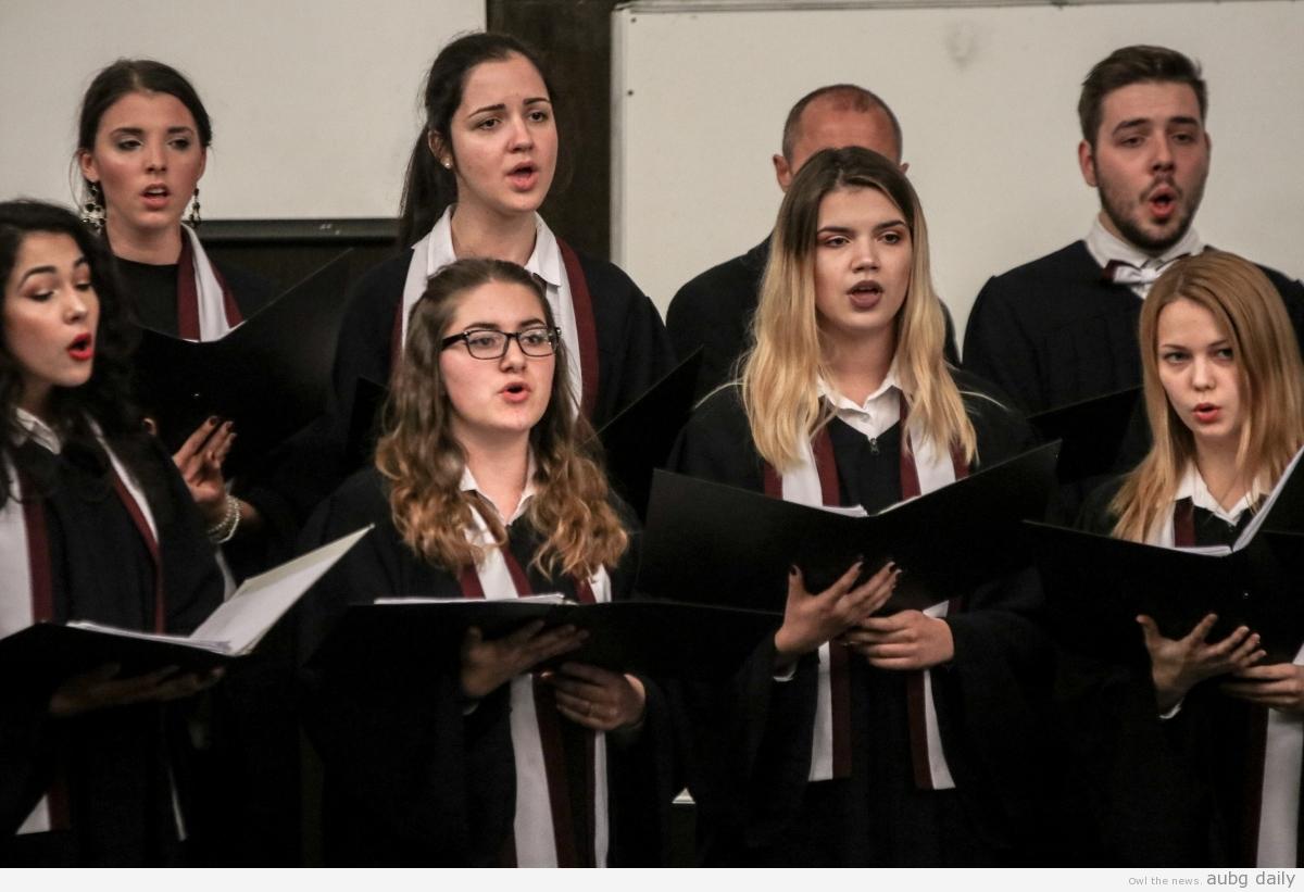 Tsvetiana Zaharieva singing as part of the AUBG Choir, Dimitar Bratovanov for AUBG Daily