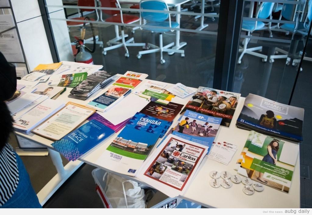 Informative brochures of the NGOs' activities; Steliyana Yordanova for AUBG Daily