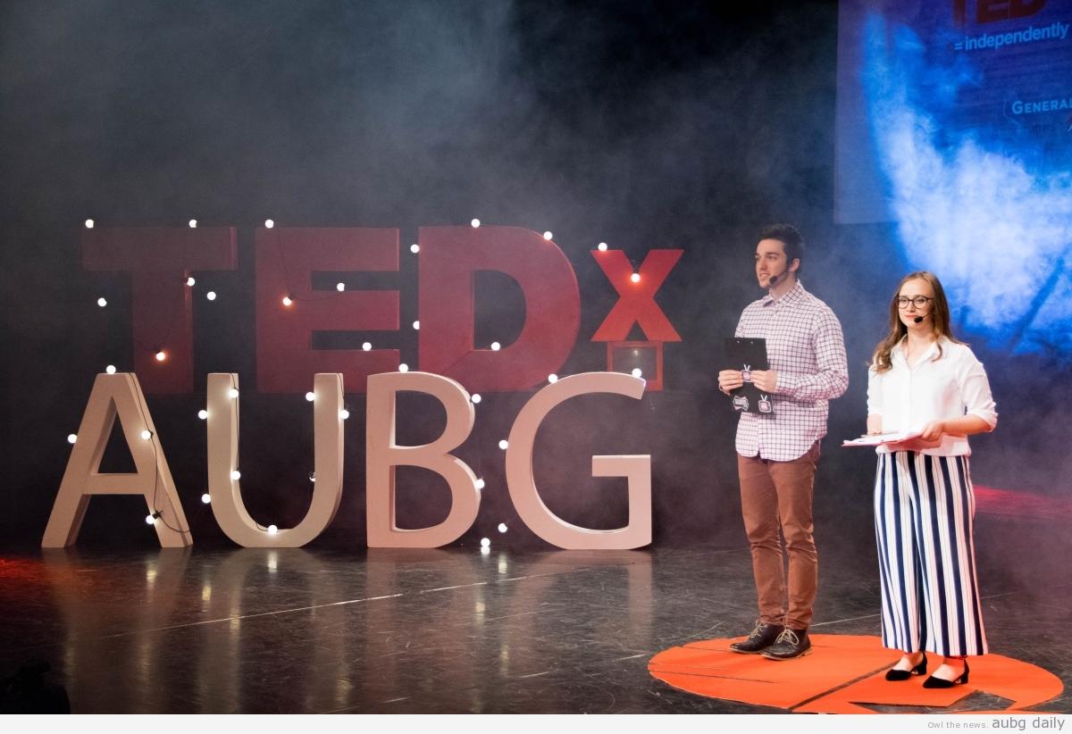 Jorgo Qirjaj and Fatme Tsiko as the hosts of TEDxAUBG 2018, Steliyana Yordanova for AUBG Daily