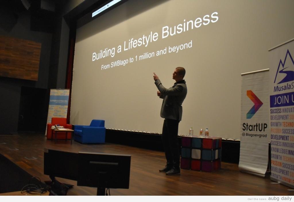 Daniel Georgiev giving his talk; Georgi Dobrev for AUBG Daily