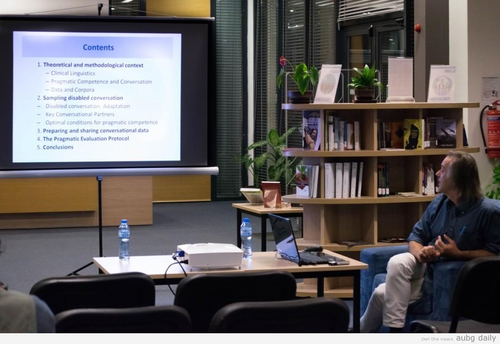Professor Díaz introducing his presentation  Steliyana Yordanova for AUBG Daily
